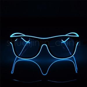 창조적 인 LED 파티 안경 패션 EL 와이어 안경 생일 할로윈 파티 밝은 아이웨어 바 형광 댄스 장식 TTA-1091