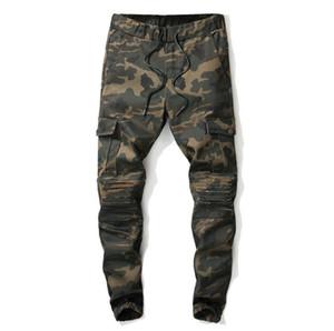 Нового мужского Камуфляж Army Green Jeans Slim Fit Мульти карманного дизайнер джинсовой брюки Мужской Упругий Подиум джинсы
