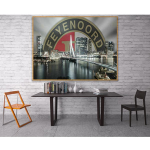 wholesale 5D Feyenoord City Skyline Bridge River Night Full Diamond Painting cross stitch kits art Scenic 3D paint by diamonds