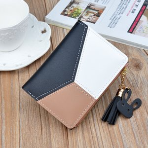 New Wallet Short Womens Zip Wallet Female Students Korean-Style Stitching Contrasting Color Tassels All-match Coin Purse Card Holder