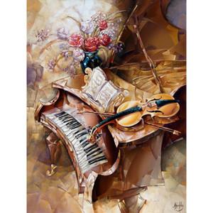 duvar sanatı El soyut yağlıboya kadın ofis dekor Hediye resminiz de tuvale kuyruklu piyano ve keman boyalı