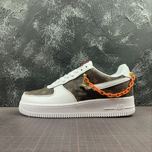 New Custom 1 Low Time Out Air One Utilitaire d'Orange Hommes Chaussures de course Forces Sneakers Baskets 1s sport Chaussures de skate forcé Taille 11