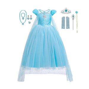 2020 New Dress estate delle ragazze Cosplay del partito dei bambini del vestito paillettes blu Costumes Snow Queen 2 Elza di compleanno per bambini travestimenti