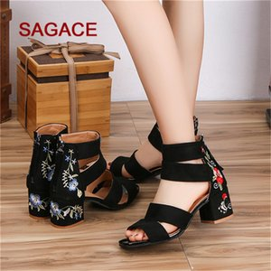 SAGACE Sandals Women Summer Zipper Embroidery Square Heel Breathable Sandals High Heel Shoes Sandalia Feminina 2020 Y200702