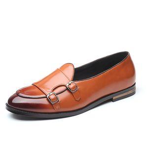 Moda Masculina Loafers 2020 New Handmade Retro Duplo Monk Buckle Correias Casual Shoes Men mocassins para homem de couro Flats