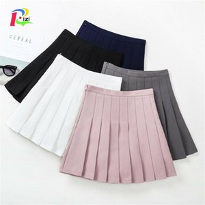 Kids Girls Pleated Skirts New Arrival Young Girls Solid Skirts Children Summer Clothing White Gray Black Pink 3-13Y Y200704