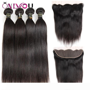 Brazilian Virgin Hair 4 Bundles with Lace Frontal Closure Unprocessed Malaysian Human Hair Weaves Wholesale Deals Peruvian Straight Sales