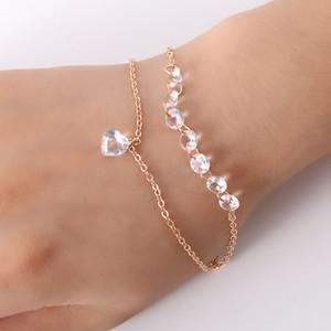 mode double chaîne en or coeur bracelet en cristal femme accessoires de mariage de fiançailles bracelet de bijoux en cristal blanc