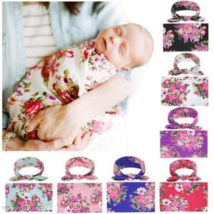 2019 nouveau-né bébé langes couvertures lapin oreille bandeaux ensemble emmailloter photo wrap tissu floral pivoine motif bébé photographie