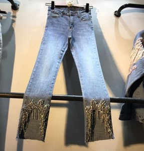 Diamond Jeans Woman 2019 Spring Summer New Foot Hand Studded Drill Rhinestone High Waist Slim Small Foot Jeans Pencil Pants Girl