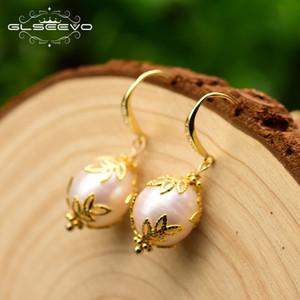 Glseevo الأصلي المياه العذبة الطبيعية الباروك الأبيض لؤلؤة للنساء الزفاف اليدوية أقراط فضة 925 مجوهرات Ge0320 J190722