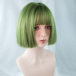 Cosplay Synthetic Straight Short Bob Wigs with Air Bangs Green,Red,Yellow,Gold,Gray colors for women Cosplay ,Party,online celebrity