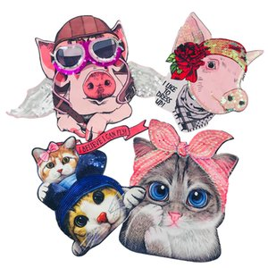 Embroidery Cloth Stick New Spring and Summer 2019 Cartoon Piggy Printing Short Sleeve Digital Printing Ball Piece Cat