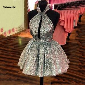 Günstige funkelnde Mini Prom Ballkleider Kleidsequin Frauen Puffy Kurze Kleider Silber Gold Custom Color Open Back-Partei-Kleid Sexy
