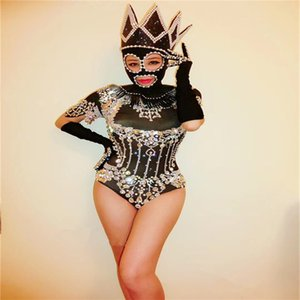 F89 볼룸 극 댄스 의상 섹시한 바디 슈트 여성 죄수 복 패션쇼 성능 복장 옷 바 마스크 블랙 드레스 진주