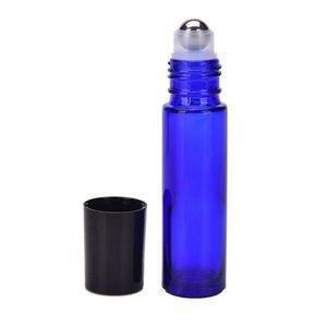 Free 300pcs Blue Glass Metal Roller Bottles 1 3OZ 10ml Glass Roll On Empty Bottles For Eliquid Perfume Ejuice Rollerball Bottles