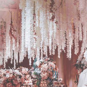 100CM Искусственных Вишневого цвета Vine Шелк цветы сакура для партии Свадебного декора потолка поддельной Garland арки плюща поделок партии decoF