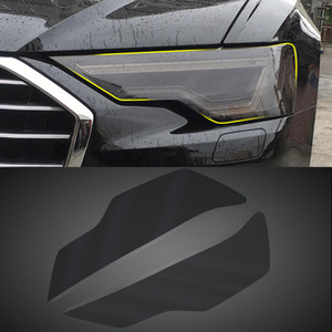 Car Headlight Film Smoked Black Front Light Lamp Film Protector Cover Trim Sticker Exterior Accessories for Audi A4 B9 2017-2020