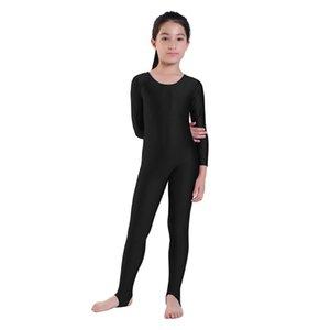 Kızlar dans Jimnastik Uzun kollu Unitard çocuklar için tulumlar üzengi Likra gösterisi Sahne Giyim Zentai çocuk Unitards