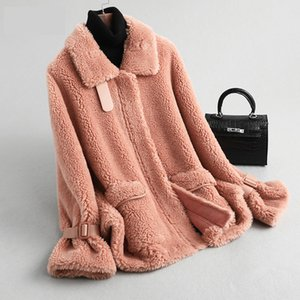 Outono Inverno Casaco feminino Roupa 2020 real casaco de pele de lã Jacket coreano Sheep Shearling Suede Lining Abrigo Mujer KQN59382 ZT3029