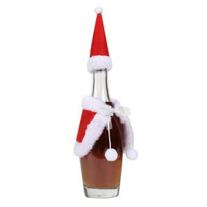 Vino rojo de Navidad Conjuntos de botellas Tapa con sombrero de navidad y ropa Cena de Navidad Decoración Decoración del ornamento