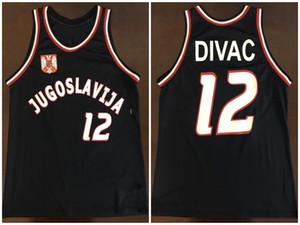 # 12 Vlade Divac 팀 Jugoslavija Yugoslavia 레트로 클래식 농구 유니폼 망 스티치 사용자 지정 번호 및 이름 유니폼