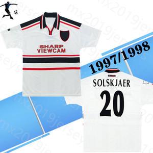 En kaliteli kadife 1997 1998 adam Unite away retro klasik futbol formalar 97 98 BECKHAM # 7 Giggs futbol gömlek Solskjaer retro jersey