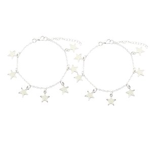 2pcs Fluorescent Bracelet Star Alloy Bracelet with Jewels Shining In The Dark Silver - Light Green + Yellow & Light Blue + Green