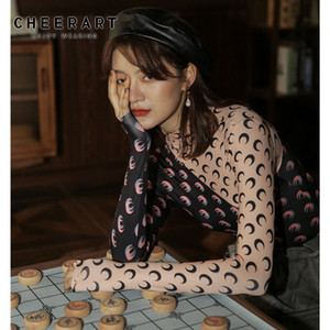 CHEERART 2020 дизайнер Луна печати футболка женщины Черепаха шеи с длинным рукавом топ цвет блока футболка нижнее белье одежда T200410