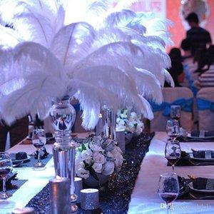 Festa de casamento branco extravagante Ostrich Feather Plumas casamento Decoração da peça central de penas de avestruz Ostrich Plume Decoração da peça central