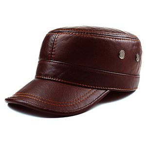 Autumn winter cowhide hat male flat cap Leather Men's outdoor leisure leather hat cap