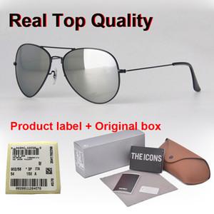 Perakende durumda ve etiket ile Gözlüğü UV400 18 Renkler Pilot Güneş gözlüğü Erkekler Kadınlar 58 / 62mm Marka Tasarımcı Gözlük Ayna cam mercek Güneş gözlüğü