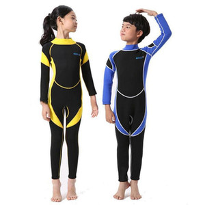 Kids Swimwears 2.5MM Neoprene Wetsuits Boys Girls Long Sleeve Diving Suits Children Surfing Snorkel One-Piece Warm Swimsuits