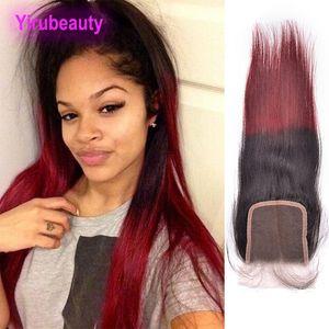 Malaysian Virgin Haar 4X4-Spitze-Schliessen 1B / 99j Ombre Farbe Körper-Wellen-gerade Menschenhaar vier durch vier Closure 1B 99J