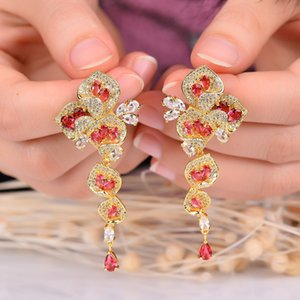 European and American creative new bridal Earrings LONG EARRINGS COLOR evening dress banquet wedding dress accessories jewelry wholesale