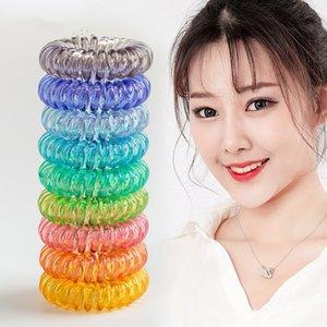 Sıcak 28 renk şeffaf Telefon Tel Kordon Saç Tie Kızlar Elastik Saç Bandı Halka Halat Şeker Renk Bilezik Sıkı hairbands T2C5202