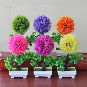 artificial plants with pot little tree house decorations bonsai plant flower in a pot artificial fake decor for home garden desk