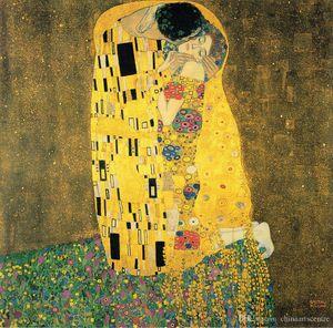 vA. O beijo por Gustavo Klimt alta qualidade pintado à mão HD Imprimir Classical Painting Abstract Art Oil On G89 Canvas Wall Art Home Deco