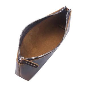 All'ingrosso in pelle Vintage Handmade cavallo pelle bovina Uomini Donne lungo Zipper Wallet Portafogli borsa della moneta del sacchetto della matita della penna di caso