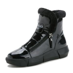 Доказательство воды сапог платформа обувь Женщина Теплый снег Ботильоны женщина зимы кроссовки New Zipper High Top Хлопок обувь Женщина Flat пинетка