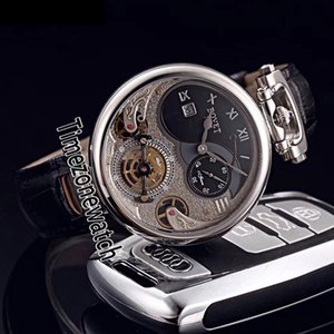 Bovet 1822 Tourbillon Amadeo Fleurie esquelético automático para hombre del reloj de acero Esfera Blanca Piel romana marcadores Negro Timezonewatch E08a1