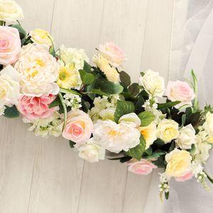 105*25cm DIY Custom wedding decor prop artificial flower wall T-stage background road lead flower row wedding arch flores arrangement