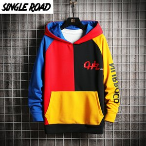 SingleRoad Men's Hoodies Men 2020 Patchwork Colorblock Sweatshirt Male Japanese Streetwear Harajuku Hip Hop Yellow Hoodie Men Y200704
