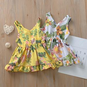 V воротник Baby Girl платье без рукавов короткого платья Цветочного Печатного Ins Нового лето хлопок Бутики Симпатичного Жилет платье Повседневных