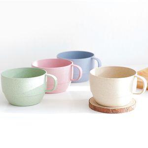 Niños Mini Tazas de leche 9 oz Paja de trigo Tazas ecológicas Desayuno para niños Leche Tazas de té Oficina Breve Copas para beber