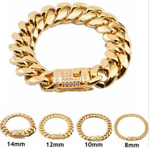 8mm 10mm 12mm 14mm 16mm 18mm Stainless Steel Bracelets 18K Gold Plated High Polished Miami Cuban Link Men Punk Chain water Diamond Clasp