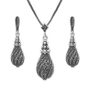 Crystal Pearl brincos pingentes colares Set Metal Liga Retro Cabaça Forma Banhado a Prata Conjunto de Jóias para Mulheres Menina do presente Moda
