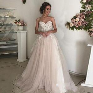 Blush Pink Vestidos de novia de encaje vintage 2019 A Line Tulle Summer Beach Garden Boda Vestidos de novia con vestidos de encaje con aplicaciones para bodas
