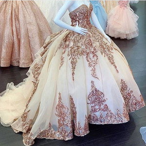 Charro blush Quinceanera or rose paillette Applque vestidos de 15 años Off épaule douce 16 Robe