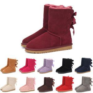 Дети Бейли 2 луки сапоги из натуральной кожи малышей Snow Boots Solid Botas De Ниив зимних девочек Обувь для девочек малышей Boots